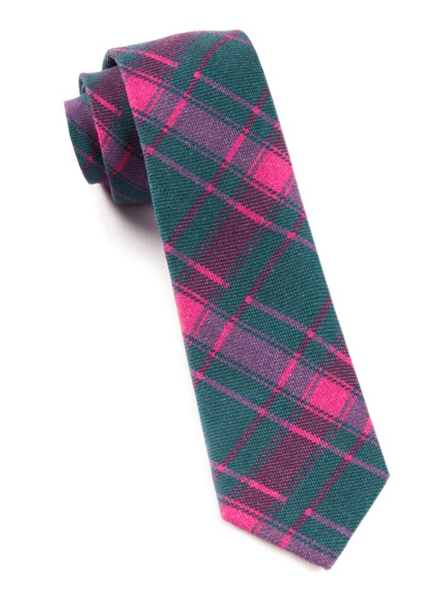 Abbey Plaid Green Teal Tie