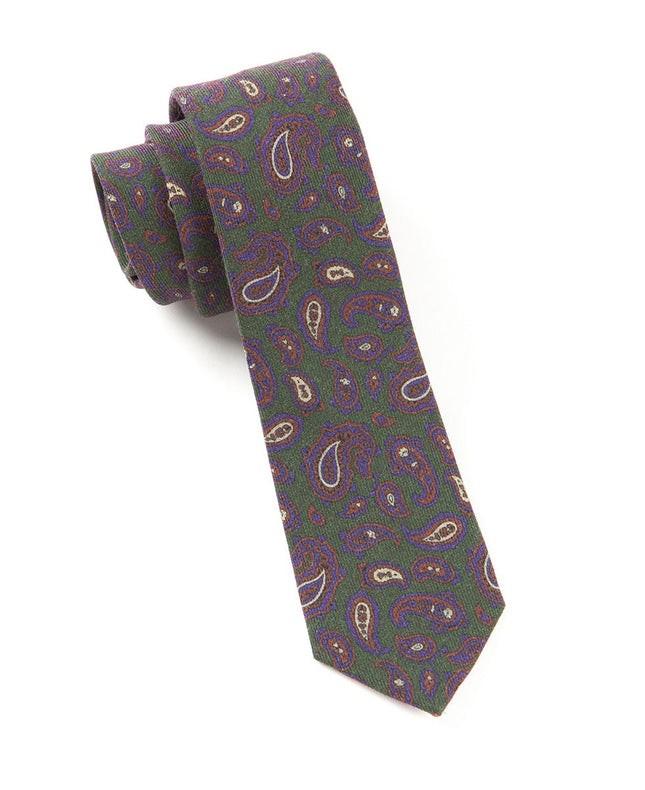 Racketeer Paisley Dark Clover Green Tie