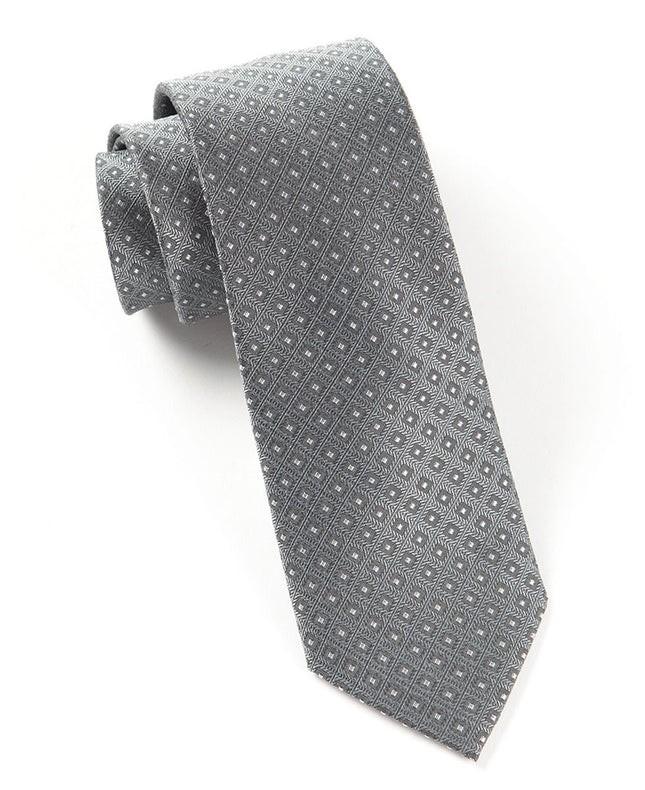 Wacker Drive Checks Grey Tie