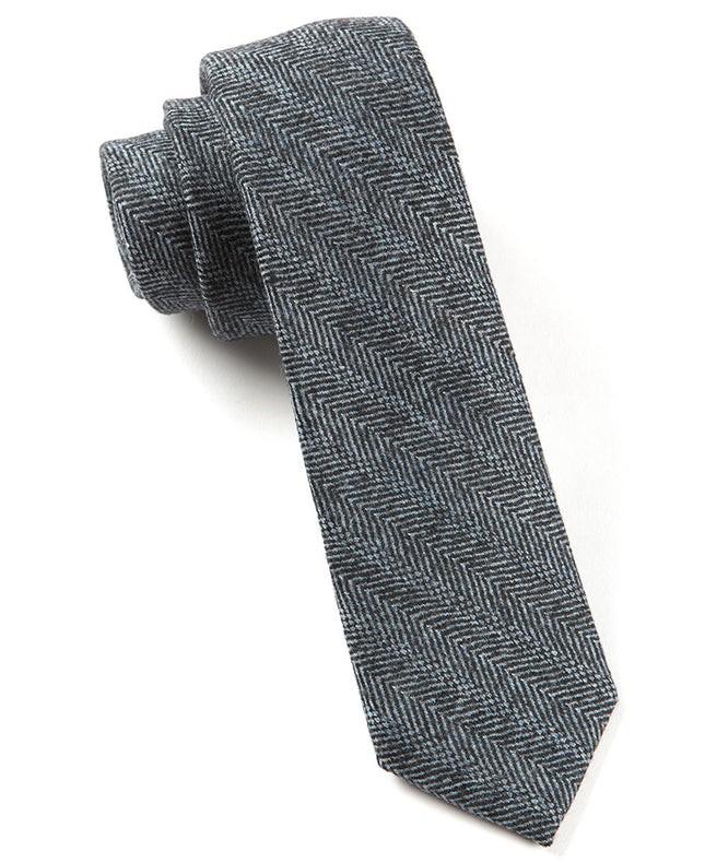 Winter Herringbone Black Tie