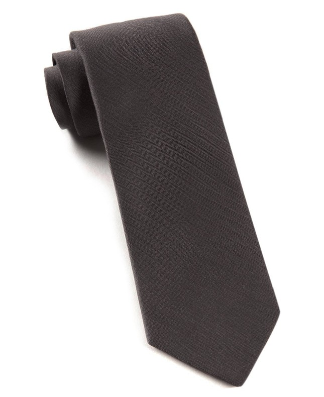 Astute Solid Charcoal Tie