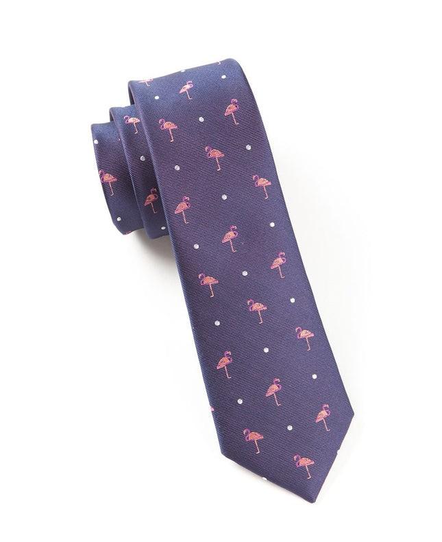 Pink Flamingo Eggplant Tie
