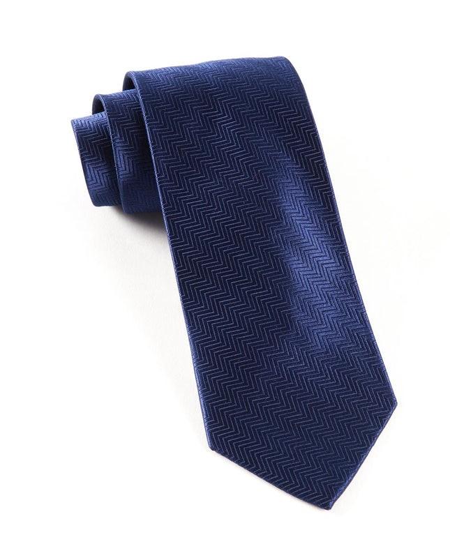 Herringbone Navy Tie