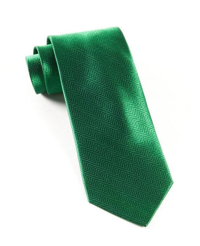 Herringbone Emerald Green Tie