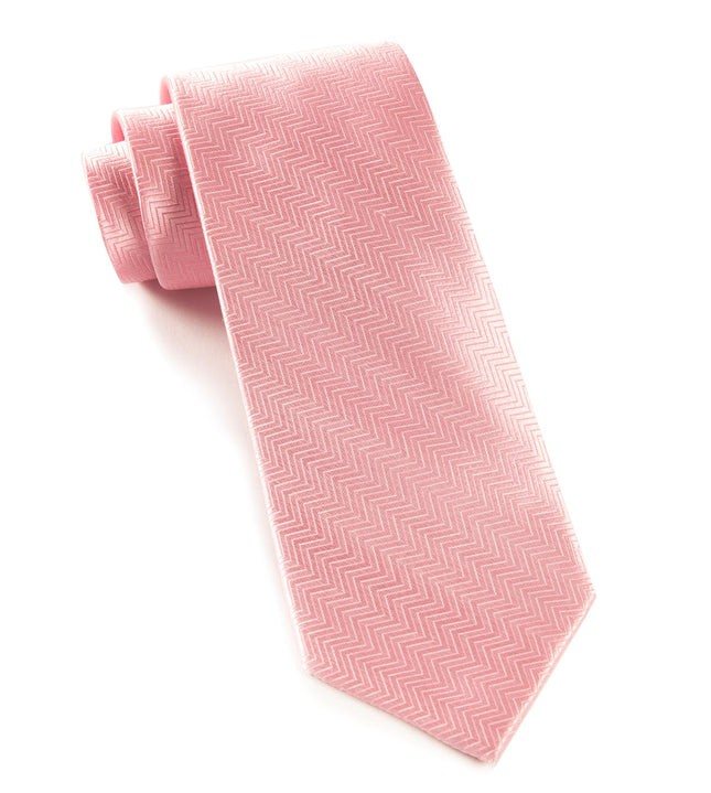 Herringbone Baby Pink Tie