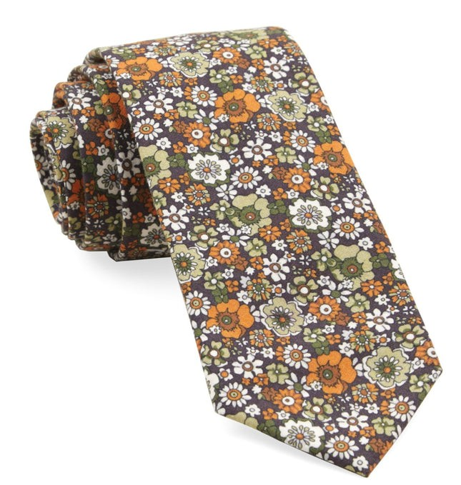 Floral Level Brown Tie