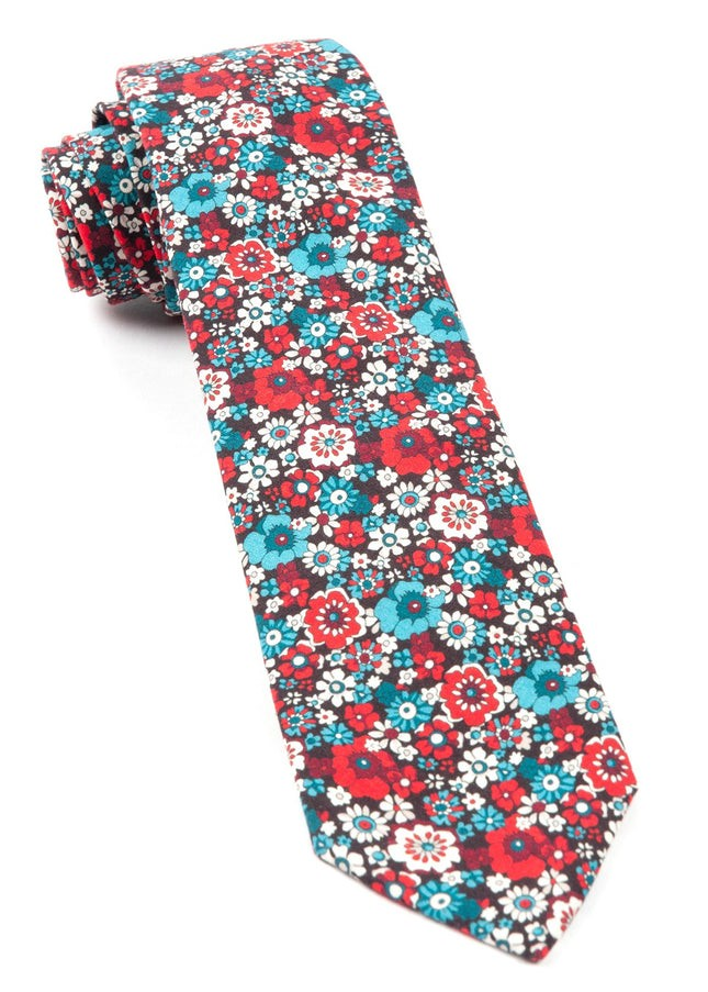 Floral Level Red Tie