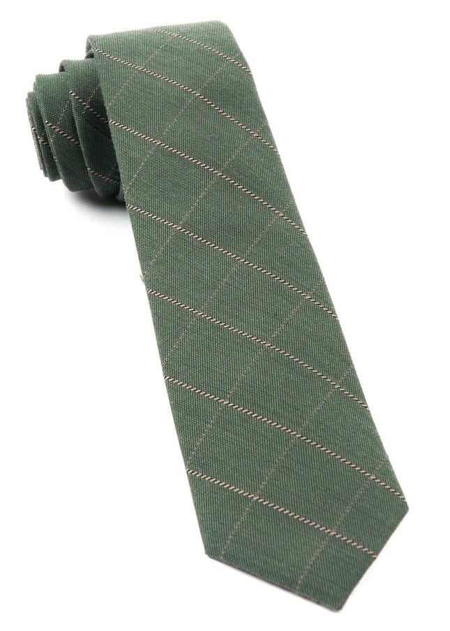 Goalpost Pane Army Green Tie