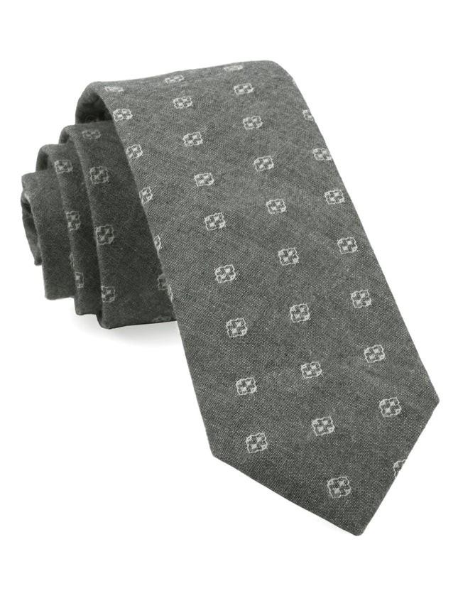 Geo Stamp Grey Tie