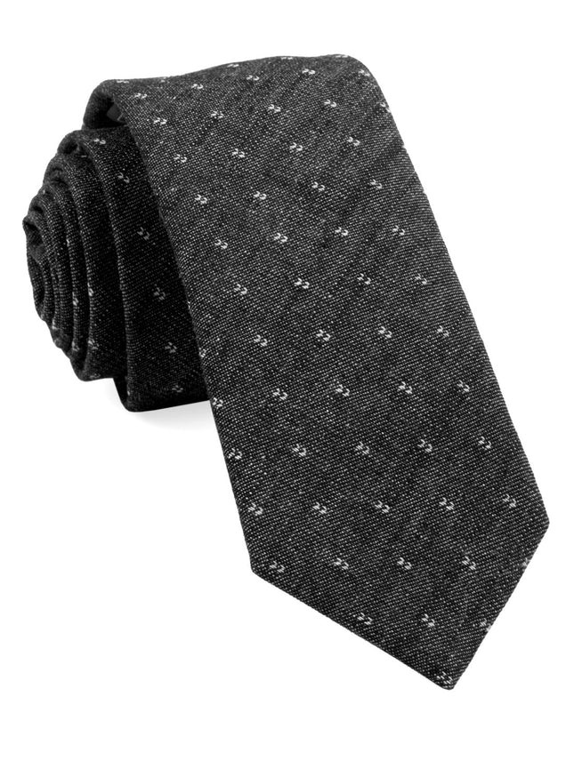 Studded Cotton Geo Charcoal Tie