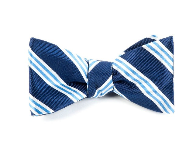 Bar Stripes Navy Bow Tie
