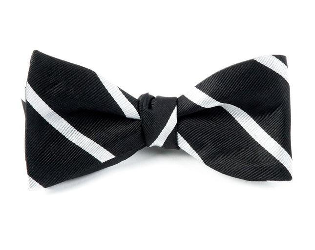 Trad Stripe Black Bow Tie