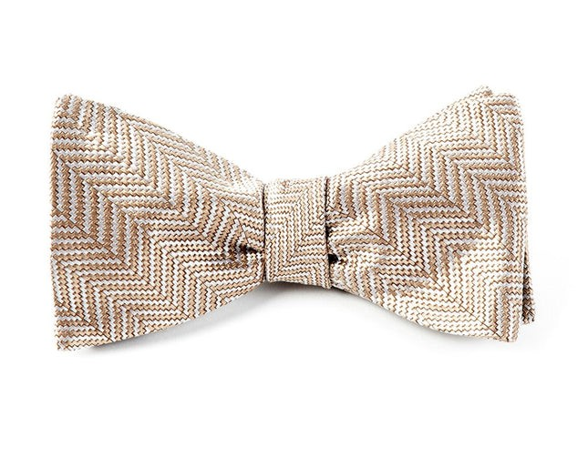 Native Herringbone Light Champagne Bow Tie