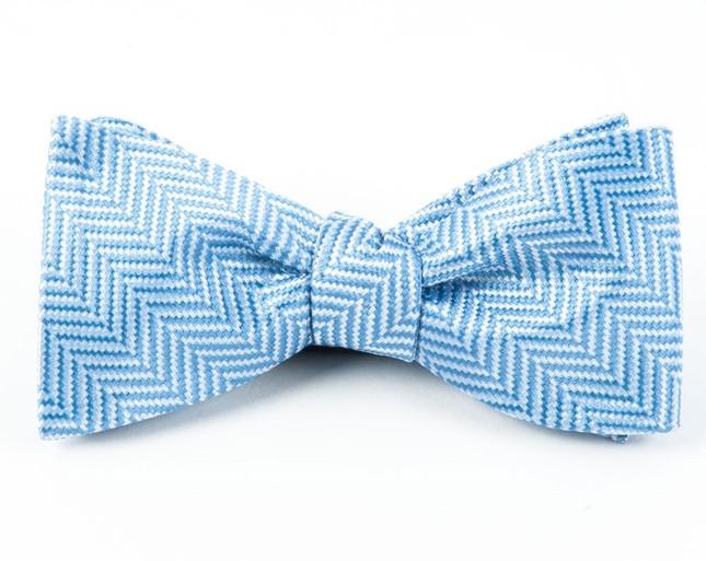 Native Herringbone Light Blue Bow Tie