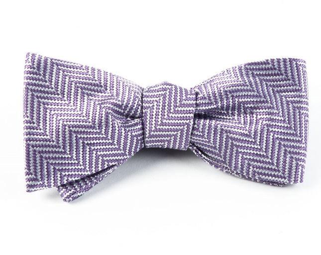 Native Herringbone Lavender Bow Tie