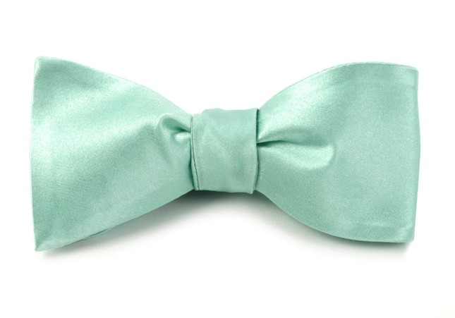 Solid Satin Spearmint Bow Tie
