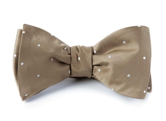 Satin Dot Champagne Bow Tie