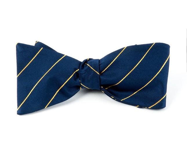 Pencil Pinstripe Navy Bow Tie
