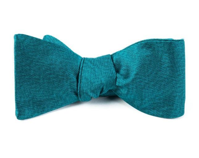 Melange Twist Solid Green Teal Bow Tie