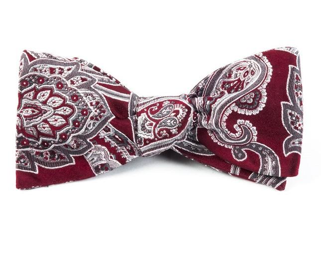 Aaron Paisley Burgundy Bow Tie