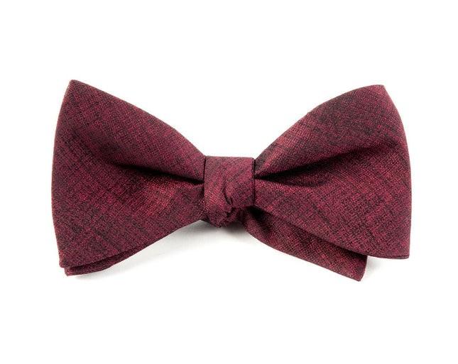Debonair Solid Deep Burgundy Bow Tie