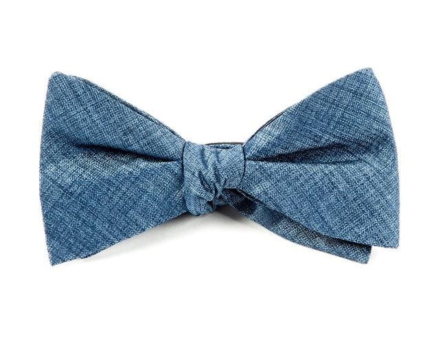 Debonair Solid Slate Blue Bow Tie