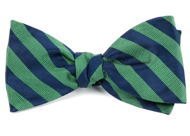 Twill Stripe Kelly Green Bow Tie