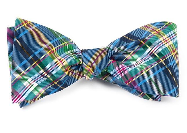 Corrigan Plaid Periwinkle Bow Tie