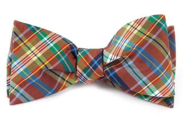 Corrigan Plaid Orange Bow Tie