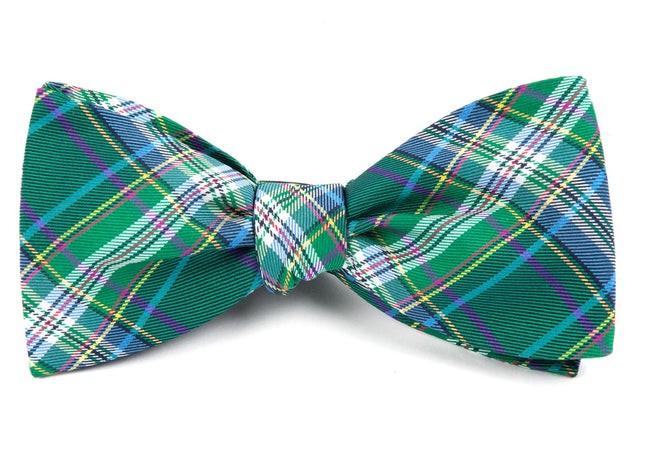Paramount Plaid Green Bow Tie