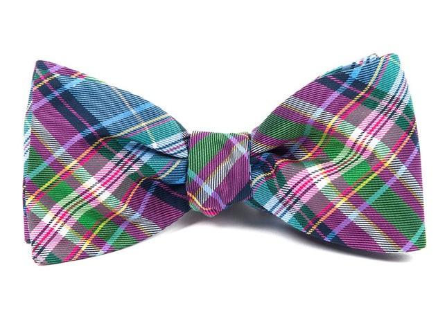 West Village Plaid Fuchsia Bow Tie
