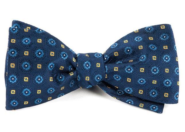 Midtown Medallions Navy Bow Tie