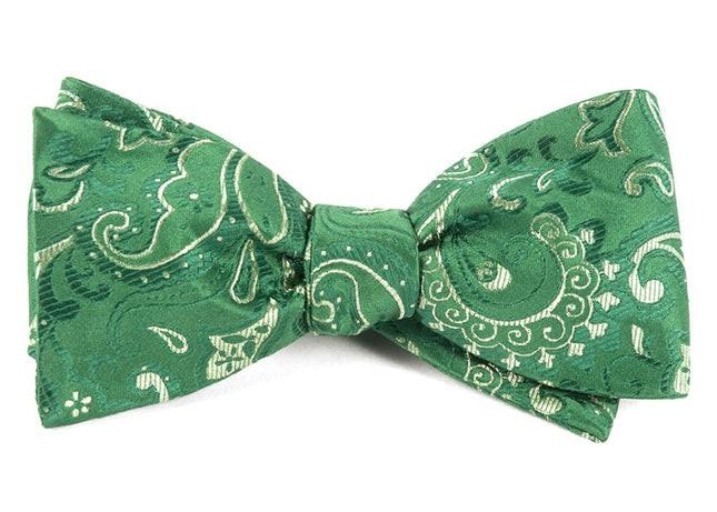 Custom Paisley Kelly Green Bow Tie
