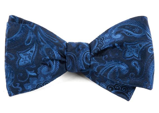 Custom Paisley Navy Bow Tie