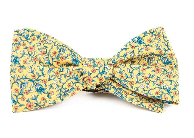 Peninsula Floral Yellow Bow Tie
