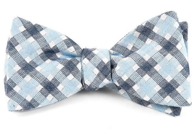 Plaid Bliss Sky Blue Bow Tie