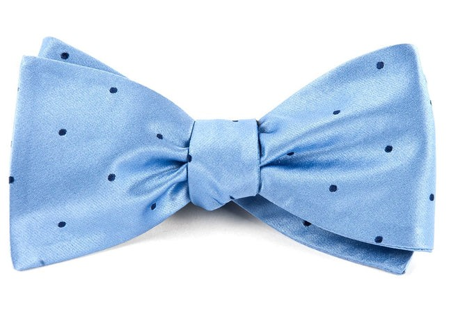 Satin Dot Light Blue Bow Tie