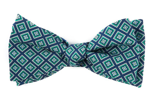 Silk Squarework Navy Bow Tie
