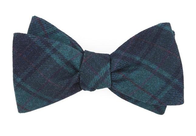 Merchants Row Plaid Green Teal Bow Tie