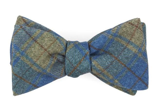 Merchants Row Plaid Classic Blue Bow Tie