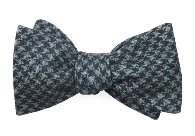 Woolf Houndstooth Navy Bow Tie