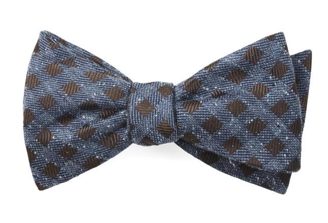 Cement Checks Brown Bow Tie