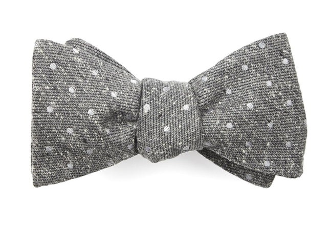 Knotted Dots Grey Bow Tie