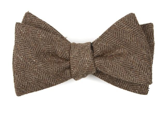 Threaded Zig-Zag Brown Bow Tie