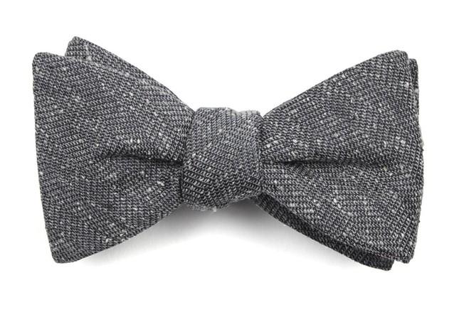 Threaded Zig-Zag Grey Bow Tie