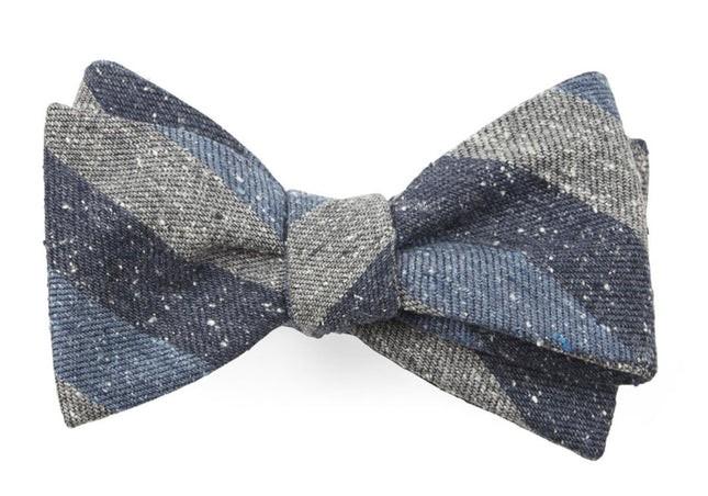 Varios Stripe Serene Blue Bow Tie