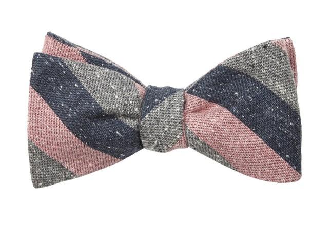 Varios Stripe Pink Bow Tie
