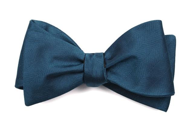 Herringbone Vow Teal Bow Tie