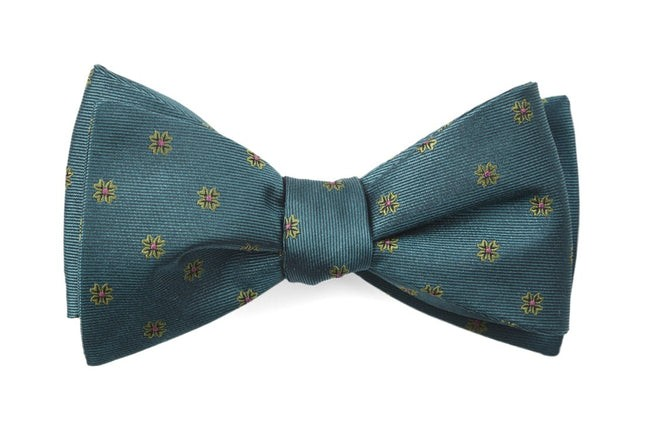 Floral Span Green Teal Bow Tie