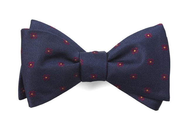 Floral Span Navy Bow Tie